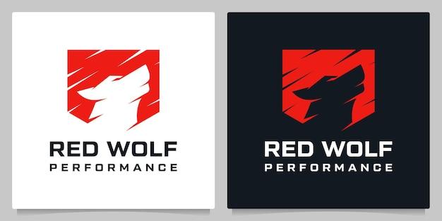 방패와 늑대 하울링 포효 보안 회사 로고 디자인