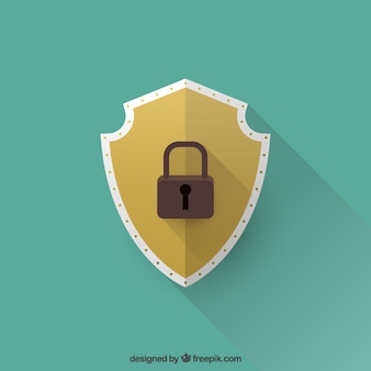 Shield background with padlock in flat design