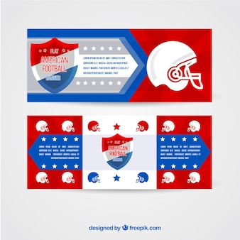 Shield banners and football helmet