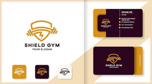 シールドバーベルフラッシュの組み合わせのロゴと名刺のデザイン