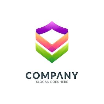 Щит бизнес логотип шаблон
