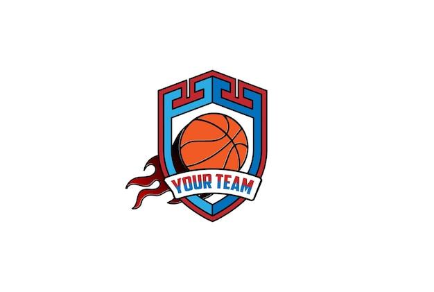 Замок щита с мячом корзины огня для вектора дизайна логотипа спортивного клуба