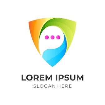Логотип щита чата, щит и чат, комбинированный логотип с красочным 3d стилем