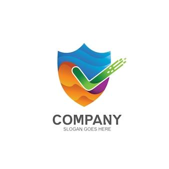 Shield and check logo design