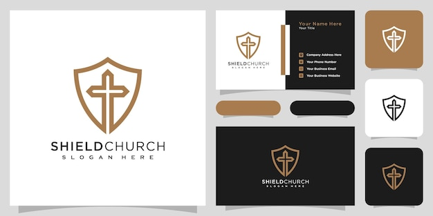 Shield church line style logo vector design and business card