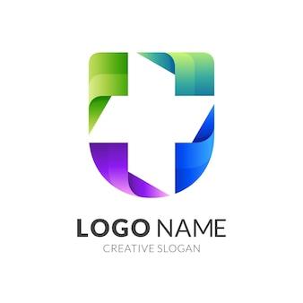 シールドクリニックのロゴ、シールドとプラス、3dカラフルな組み合わせロゴ