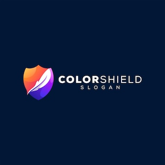 방패 색상 그라디언트 로고 디자인