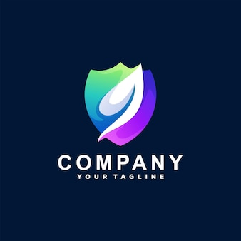 Shield color gradient logo design