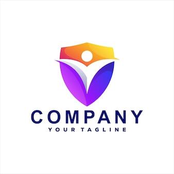 Дизайн логотипа градиента цвета щита