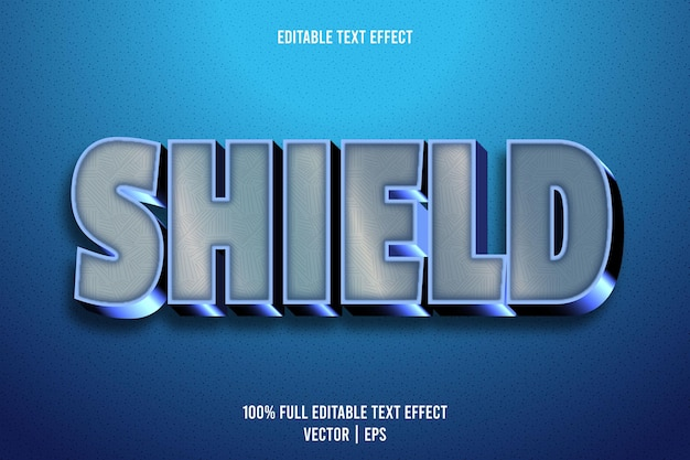Shield editable text effect 3 dimension emboss luxury style