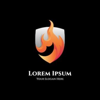 Шаблон логотипа щита огня
