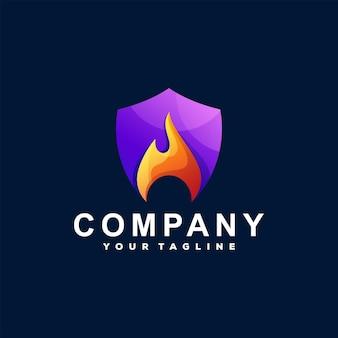 Shield flame gradient logo design