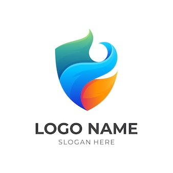 Shield flame logo template, shield and fire, combination logo with 3d colorful style