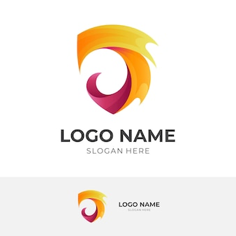 Shield flame logo vector, shield and fire, combination logo with 3d colorful style
