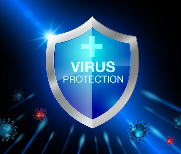 コロナウイルス保護のためのシールド。現実的なファイル。