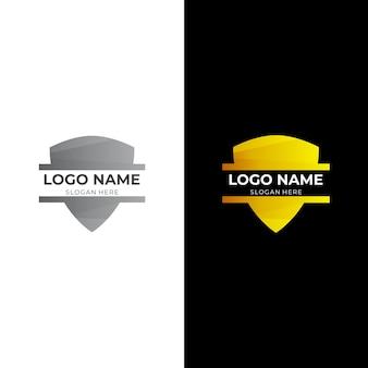 3dゴールドとシルバーのカラースタイルのシールドフレームロゴデザイン