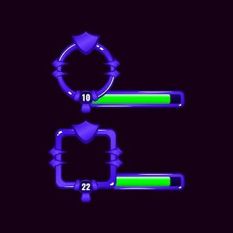 레벨 및 진행률 표시 줄이있는 방패 게임 ui 테두리 프레임