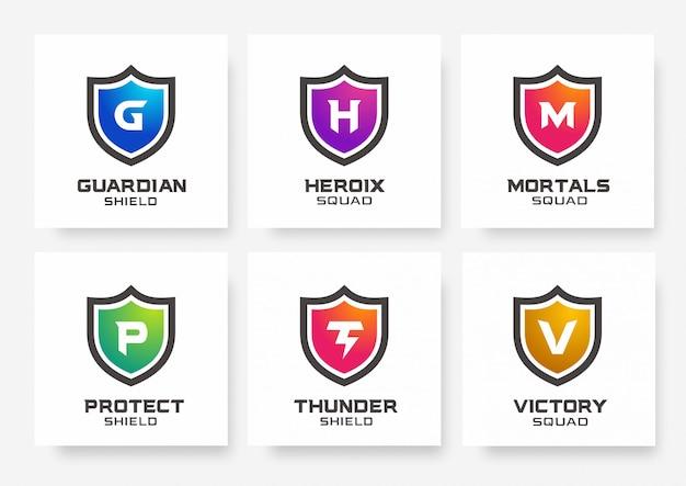 Коллекция шаблонов логотипов shield gaming