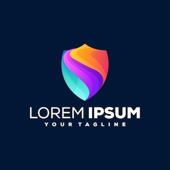 Щит градиентный цветной дизайн логотипа