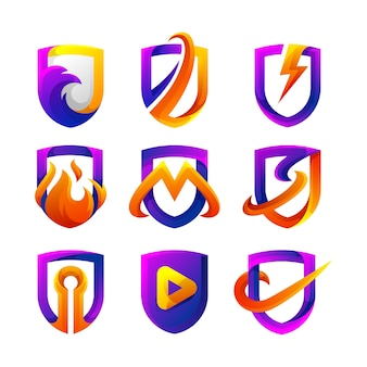 Shield gradient logo collection