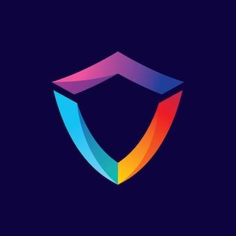 Щит градиент логотипа дизайн иллюстрация