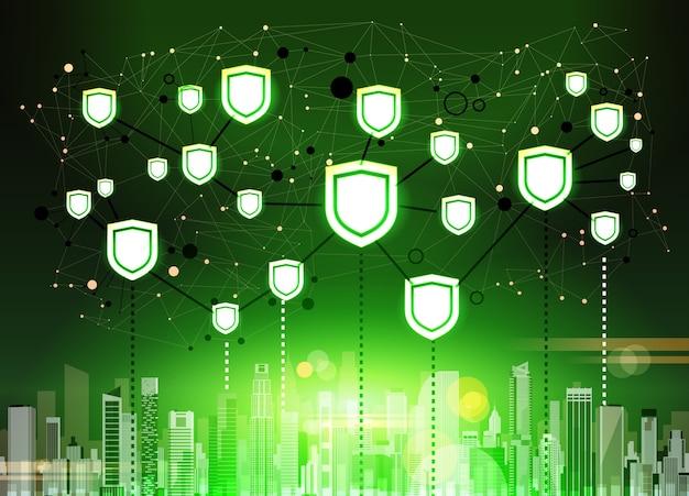 Shield over green cityscape data protection privacy concept