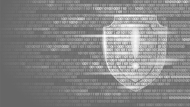 Shield guard safety system binary code flow, big data security hacker
