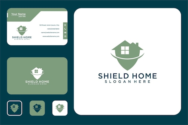 Shield home logo design and business card