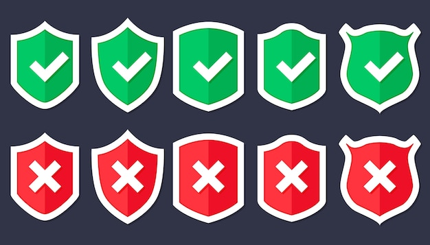 トレンディなフラットスタイルのシールドアイコンが分離され、中央にチェックマークが付いたシールド。保護アイコンの概念のwebサイトのデザイン、ロゴ、アプリ、ui