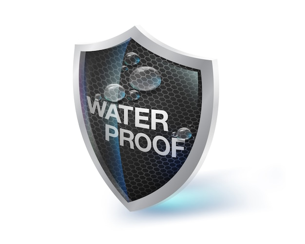 The shield icon represents materials that are waterproof, moisture and heat resistant on a white background. future waterproof technology concepts. fabrics, artificial leather, metals, special paints.