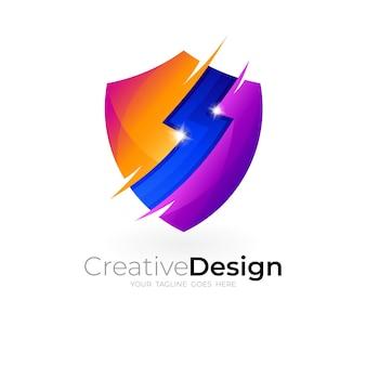 Значок щита, дизайн безопасности с иконами грома