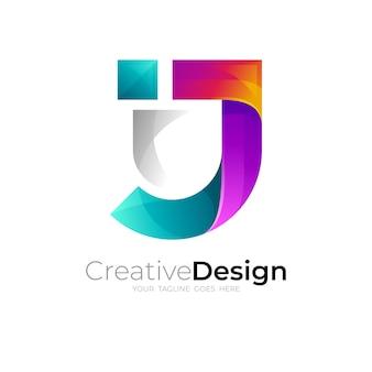 文字jのデザインの組み合わせ、セキュリティのロゴと盾のアイコン