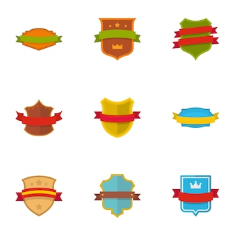 Shield icons set. flat set of 9 shield vector icons