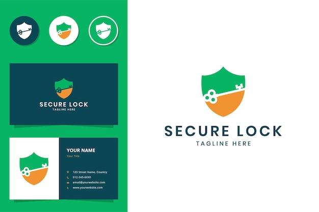Shield key negative space logo design