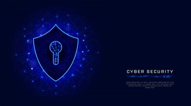 Shield, keyhole cyber security banner on abstract background. cloud data protection technology