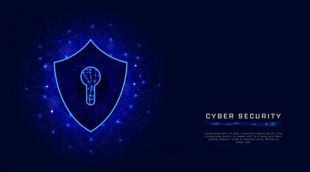 방패, 추상적 인 배경에 열쇠 구멍 사이버 보안 배너. 클라우드 데이터 보호 기술