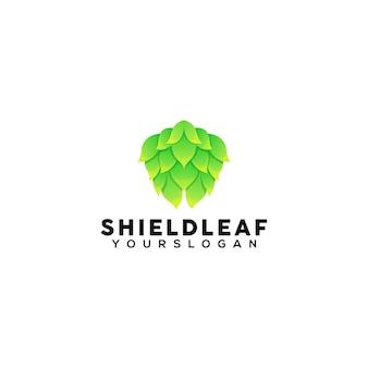 Shield leaf colorful logo design template