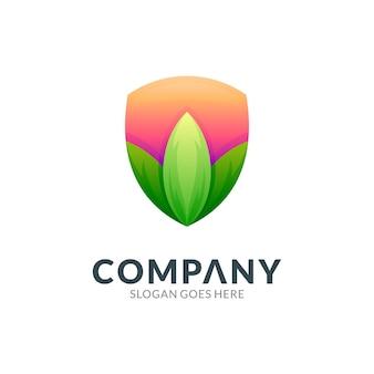 Shield and leaf logo design