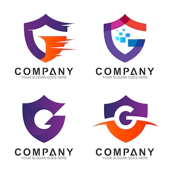 Shield letter g business logo collection