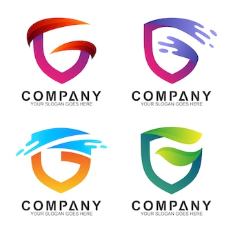 Shield letter g business logo templates