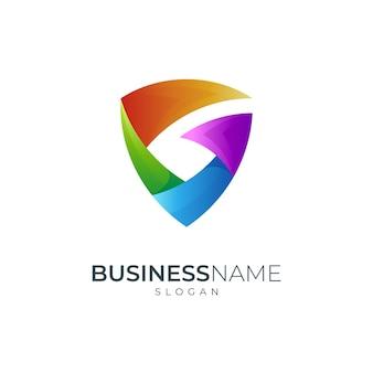 Shield letter g colorful gradient logo design template