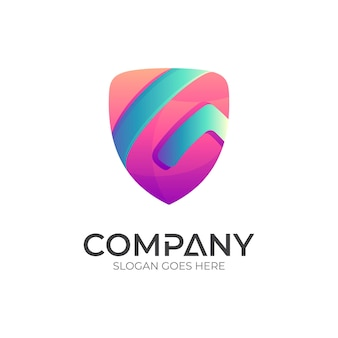 Shield letter g logo template