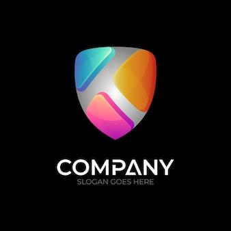 Shield letter k logo template