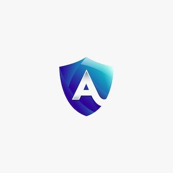 Shield letter a protect logo design template