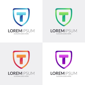 Shield and letter t logo design