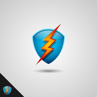 Shield and lightning logo template