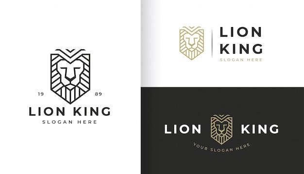 Урожай дизайн логотипа shield lion