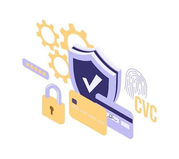 シールドロックとクレジットカードの等角投影図分離ベクトル図、保護と安全オンライン支払い記号
