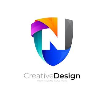 Комбинация дизайна логотипа щита и буквы n