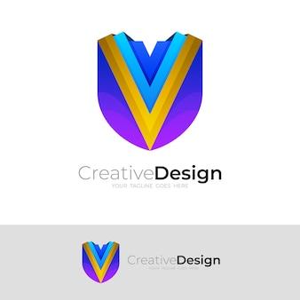 盾のロゴと文字vのデザインテンプレート、モダンなアイコン